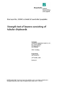 Strength test of bearers consisting of tubular chipboards